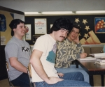 Horsing around in DECA class  John Fleming, Mike O'Connor with wig, Mark Rakauskas